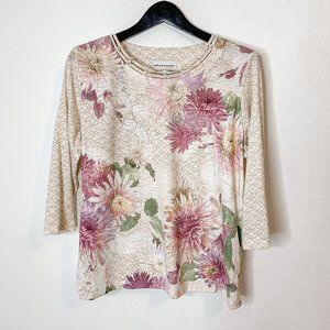 Alfred Dunner Floral 3/4 Sleeve Lined Lace Top L